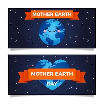 Matka dzień ziemi transparent płaski zestaw