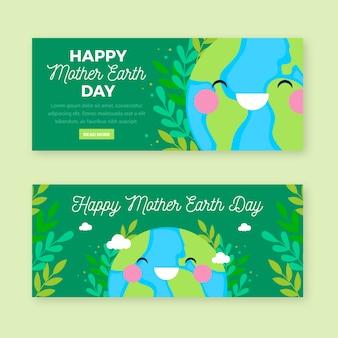 Matka dzień ziemi transparent płaski