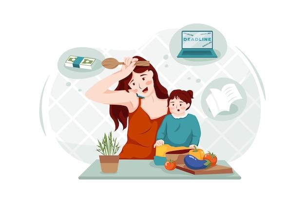 Matka gotuje, słuchając telefonu obok swojego dziecka