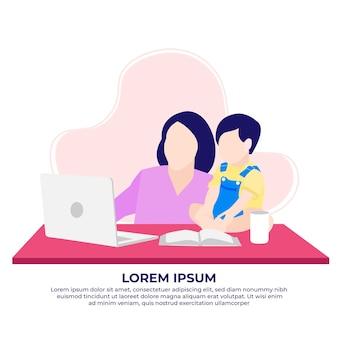 Matka i chłopiec pracujący w domu przed laptopem