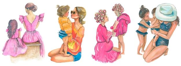 Matka i córka. akwarela ilustracja. wektor na białym tle.