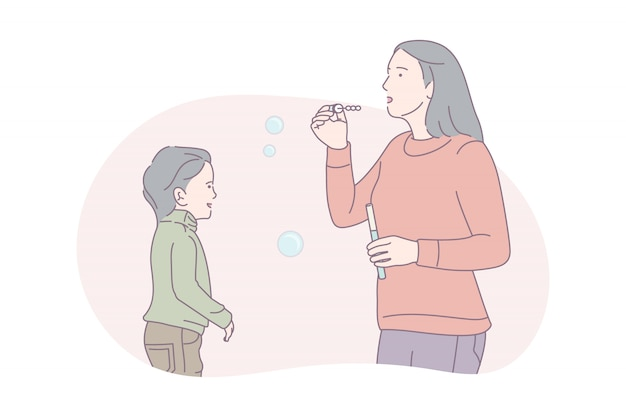 Matka i córka dmuchanie baniek mydlanych, ilustracja koncepcja