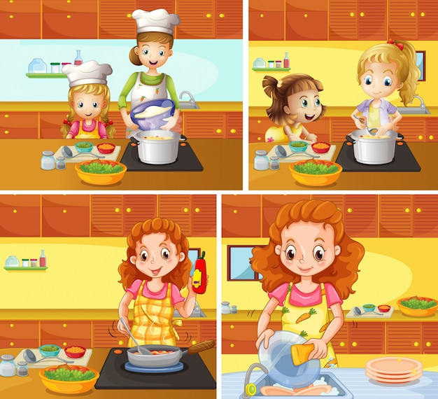 Matka i córka gotowanie i sprzątanie