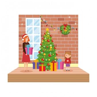 Matka i córka salon z christmas dekoracji
