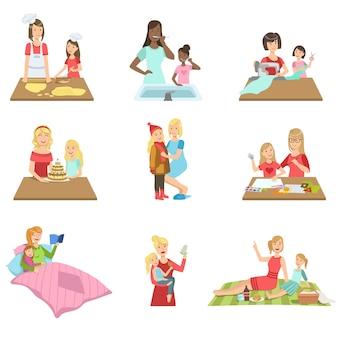 Matka i córka spędzając czas razem zestaw ilustracji