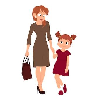 Matka i córka, trzymając się za ręce.