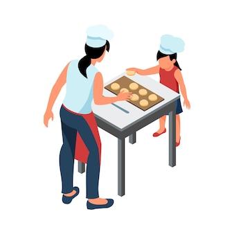 Matka i córka wspólnie gotują w izometrycznej kuchni