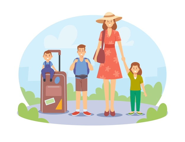 Matka i dzieci podróżujące razem. szczęśliwa rodzina na letnie wakacje. podróże mamy z dziećmi, postacie z bagażem i wakacje w obcych krajach. ilustracja wektorowa kreskówka ludzie