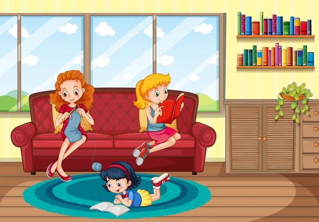 Matka i dzieci przebywające w domu