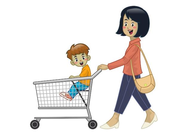 Matka i dzieci trzymają wózek na zakupy