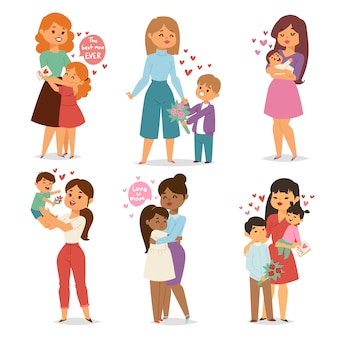 Matka i dzieci z bukietem kwiatów. wektor dzień matki i womans.