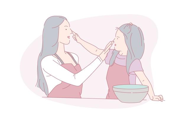 Matka i dziecko, chętnie gotują, ilustracja koncepcja