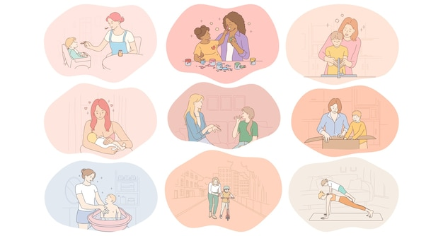 Matka i dziecko, macierzyństwo, zajęcia domowe z koncepcją dzieci.