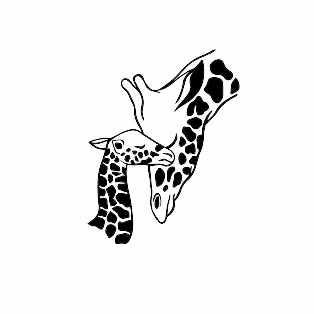 Matka i dziecko symbol logo tatuaż szablon projektu ilustracja wektorowa