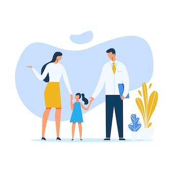 Matka i lekarz trzymając dziewczynka ręcznie cartoon