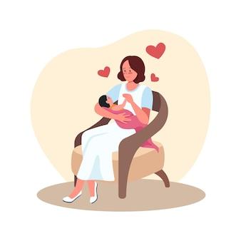 Matka i noworodek w fotelu. rodzic z dzieckiem. szczęśliwa mama z niemowlęciem w ramionach płaskich znaków na kreskówce. kolorowa scena macierzyństwa i opieki nad dzieckiem