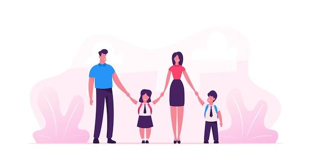 Matka i ojciec prowadzą swoje dzieci do szkoły. portret współczesnej rodziny idącej razem. płaskie ilustracja kreskówka