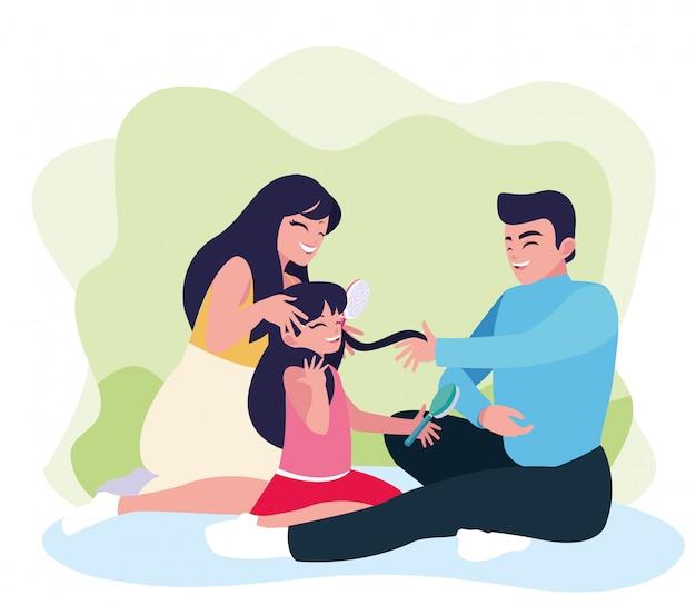 Matka i ojciec z córką grać