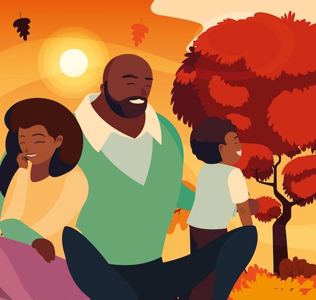 Matka i ojciec z synem jesienią