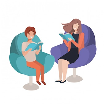 Matka i syn siedzi na kanapie z książką avatar charakter