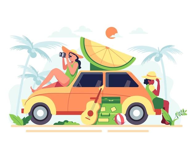 Matka i syn spędzają wakacje na plaży