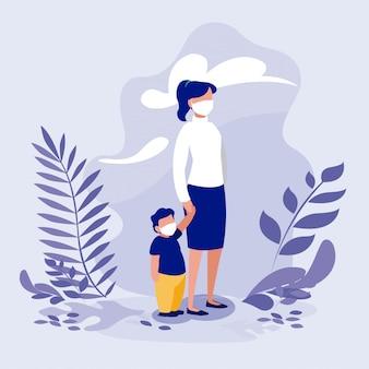 Matka i syn z maskami na zewnątrz
