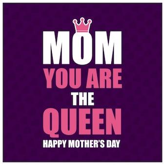Matka jesteś tle królowa typografia