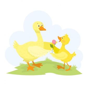 Matka kaczka i jej kaczątko, świętując dzień matki