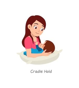 Matka karmiąca piersią dziecko w pozie zwanej kołyską