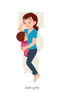 Matka karmiąca piersią dziecko z pozą o nazwie leżącej na boku