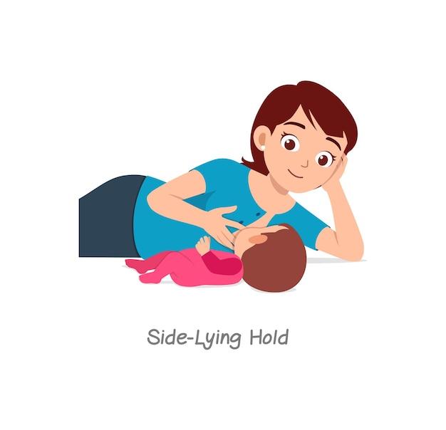 Matka karmiąca piersią dziecko z pozą o nazwie trzymanie w pozycji leżącej na boku