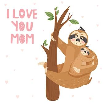 Matka lenistwo z dzieckiem wiszące na gałęzi