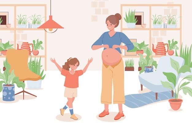 Matka mówi córce o płaskiej ilustracji ciąży.