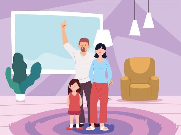 Matka, ojciec i córka bajki w domu wektor pokój