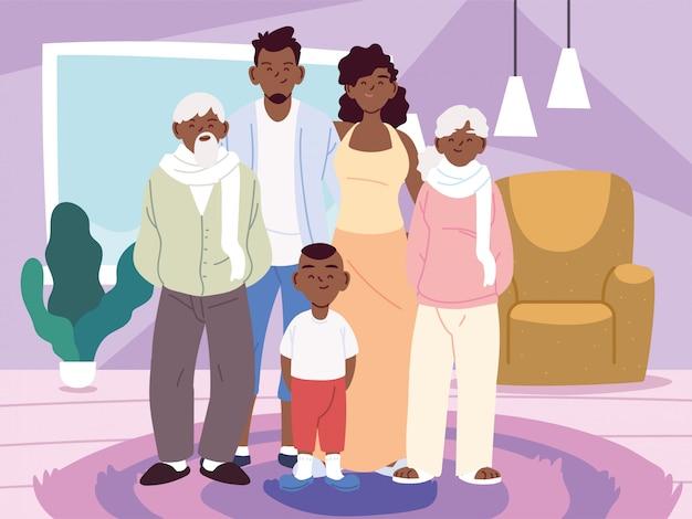 Matka, ojciec i syn z bajkami dziadków w wektor pokoju w domu