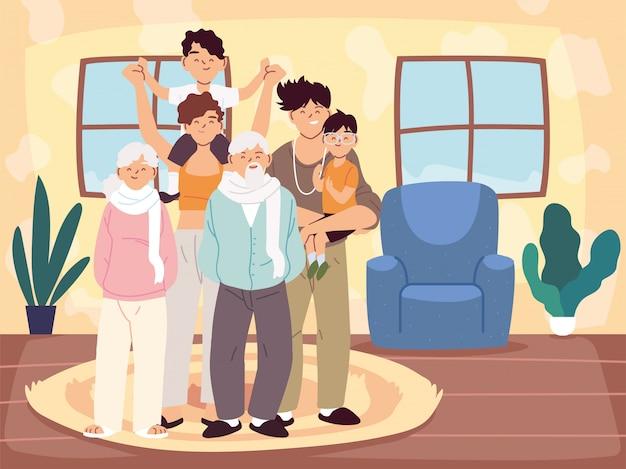 Matka, ojciec i synowie z bajkami dziadków w wektor pokoju w domu