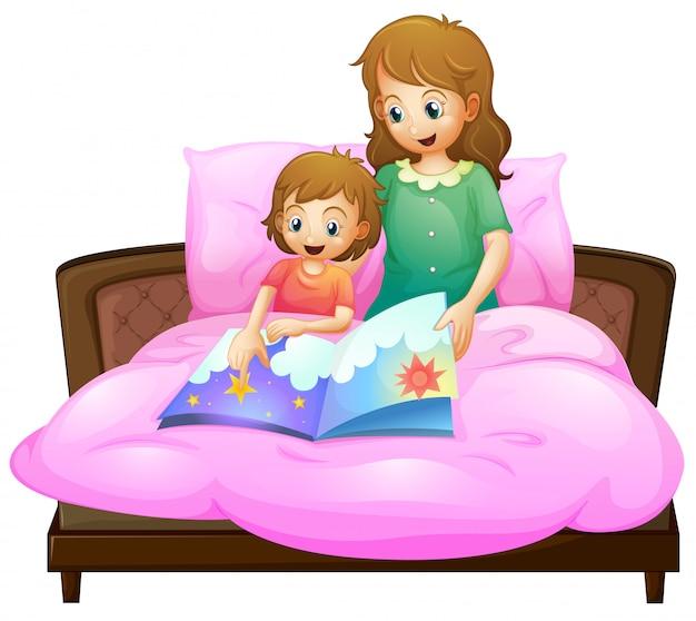 Matka opowiadająca bajkę na dobranoc, aby dziecko w łóżku