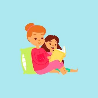 Matka starsza siostra w różowym kostiumie nocnym czytająca w łóżku historię swojej córki na dobranoc. kreskówka. rodzinny szczęśliwy czas na czytanie książek