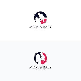 Matka trzyma mały wektor projektowania logo dziecka