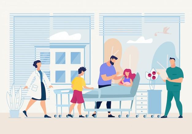 Matka trzyma noworodka w ramionach cartoon mieszkanie