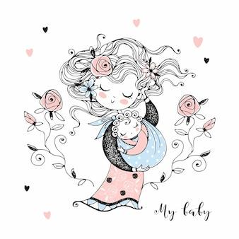 Matka trzyma swoje dziecko w ramionach. dzień matki. wektor.