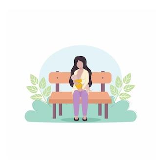 Matka trzyma w ramionach noworodka i karmi piersią na ławce na tle przyrody i liści. pojęcie karmienia piersią. matka i dziecko. ilustracja wektorowa kreskówki