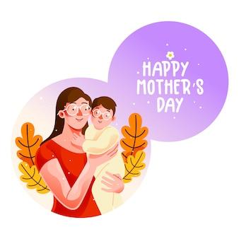 Matka trzymająca małego dziecka na dzień matki