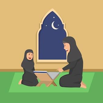 Matka uczy swoją córkę koran