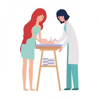 Matka z dzieckiem i lekarzem