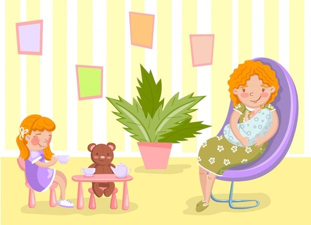 Matka z nowonarodzonym dzieckiem i jej córką w żywej izbowej ilustraci