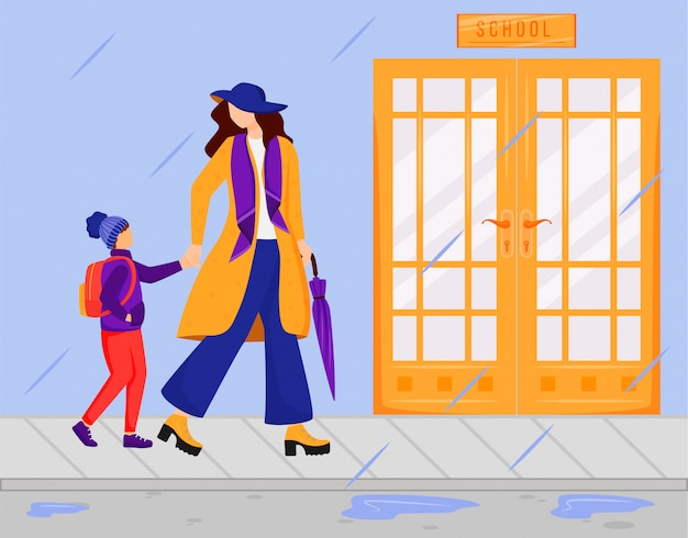 Matka z syna koloru wektoru płaską ilustracją. deszczowy dzień. wilgotna pogoda. stylowa dama w płaszczu, szaliku i kapeluszu. rodzic z dzieckiem chodzi do szkolnych postaci z kreskówek bez twarzy