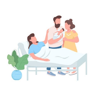 Matka zastępcza płaski kolor bez twarzy. mąż i żona z noworodkiem. kobieta rodzi. alternatywna ilustracja kreskówka na białym tle poród do projektowania grafiki internetowej i animacji