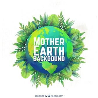 Matka ziemia dni tło w stylu akwareli
