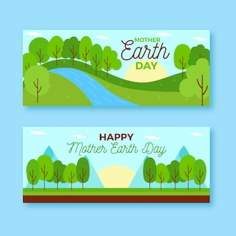 Matka ziemia dzień transparent płaska konstrukcja
